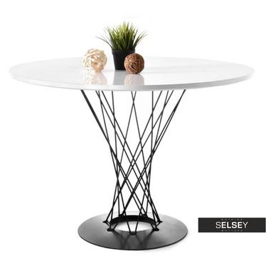 Stół Tornado biało-czarny średnica 100 cm z okrągłym blatem do salonu lub kuchni