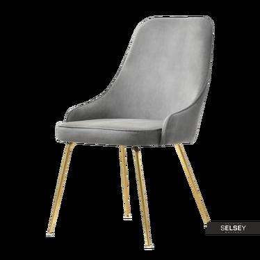 Krzesło Grima szare na złotych nogach welurowe