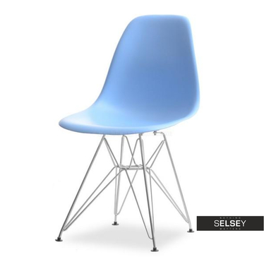 Krzesło MPC rod niebieskie na chromowanych nóżkach