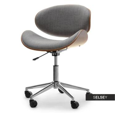 Fotel biurowy Swing orzech-szary tapicerowany z giętego drewna