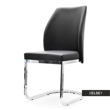 Krzesło Adria czarna ekoskóra na chromowanych płozach