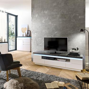 Szafka RTV Girasola 175 cm biały - beton