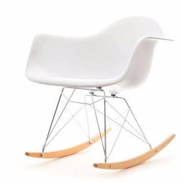 Fotel bujany MPA ROC biały designerski bujak z podłokietnikami
