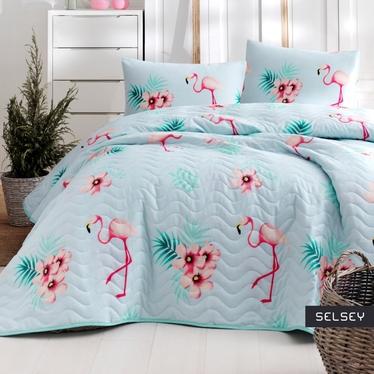 Narzuta Flamingo 200x220 cm z dwiema poszewkami na poduszkę 50x70 cm miętowa