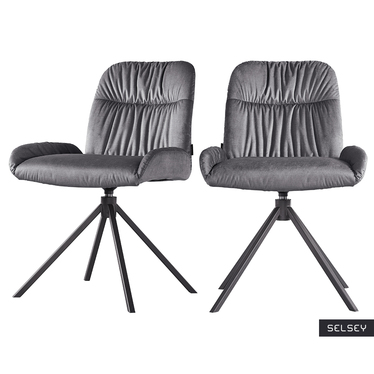 Zestaw dwóch krzeseł obrotowych Simdes szare