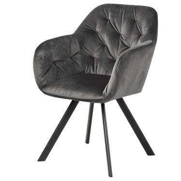Krzesło tapicerowane Elestren ciemnoszary welur