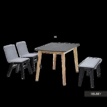Stół z krzesłami Kantino dąb z czernią z ławką
