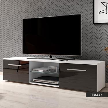Szafka RTV Tenus biały mat / czarny połysk