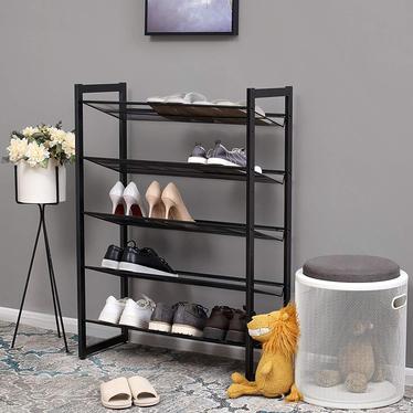 Stojak na buty Baratins pięć poziomów czarny