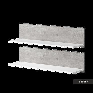 Zestaw dwóch półek Dexter biała z elementami beton Colorado