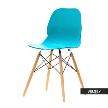 Krzesło Leaf wood turkusowe