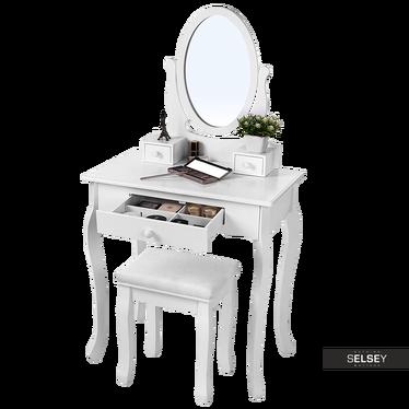 Toaletka Shalow 70 cm z owalnym lustrem i taboretem