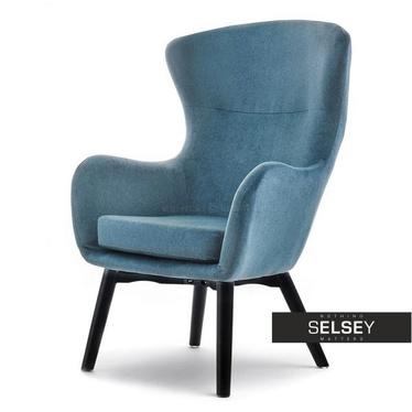Fotel Leta niebieski na czarnych nogach uszak