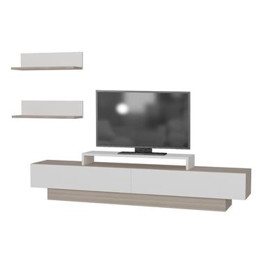 Szafka RTV Rigo biała z elementami cordoba z dwiema pólkami naściennymi