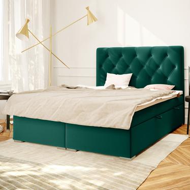 Łóżko kontynentalne Lubekka zielone w tkaninie wodoodpornej