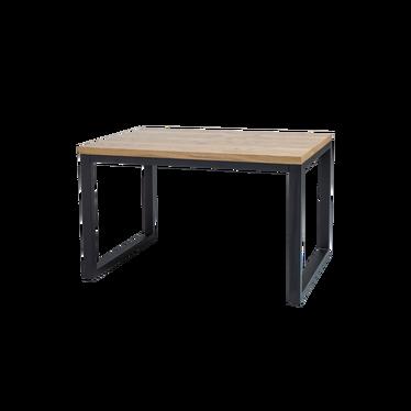 Stół Owens 120x80 cm z litego drewna z czarną podstawą
