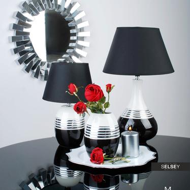 Lampa stołowa Shirley o średnicy 32,5 cm ze srebrnym dekorem