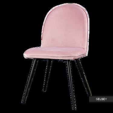 Krzesło tapicerowane Tony pudrowe na czarnych nogach ze stali