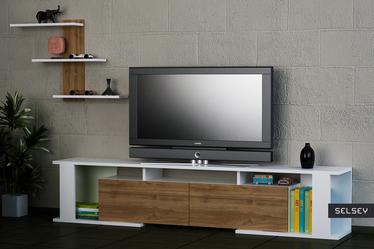 Szafka RTV Monetti biała z orzechowymi elementami z półką