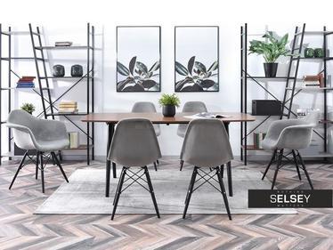 Krzesło MPC wood tap szare na czarnych nogach tapicerowane welurowe