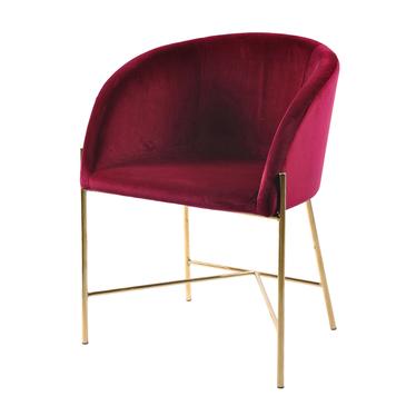Krzesło tapicerowane Ribioc bordowy welur na złotych nogach
