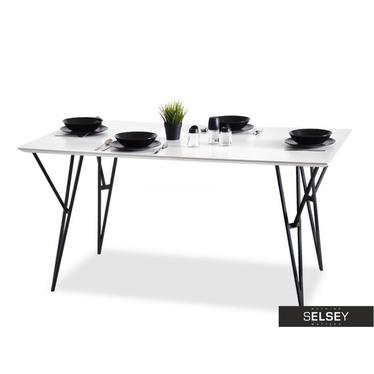 Stół Forte 160x90 cm masywny z białym blatem