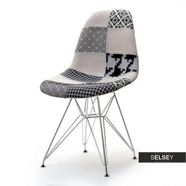 Krzesło MPC rod tap patchwork 2 na chromowanych nóżkach