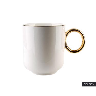 Kubek do herbaty Certle 350 ml biało-złoty