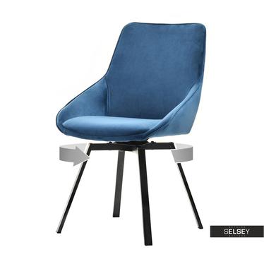 Krzesło Sunrise niebieskie na czarnej podstawie
