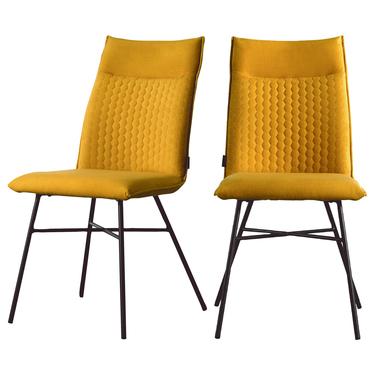 Zestaw dwóch krzeseł tapicerowanych Carlyn żółte pikowane