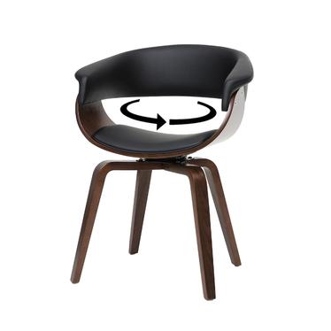 Krzesło tapicerowane Asarlo czarna ekoskóra na orzechowych nogach