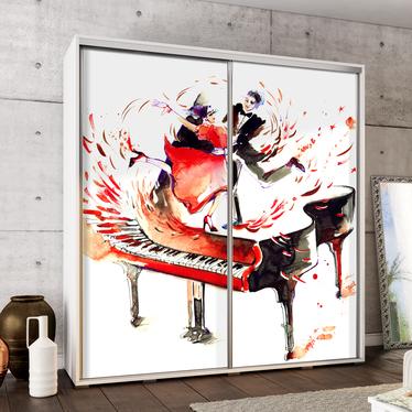 Szafa Wenecja 205 cm Akwarelowy fortepian z tańczącą parą