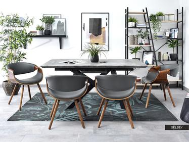 Krzesło Bent orzech - szara ekoskóra