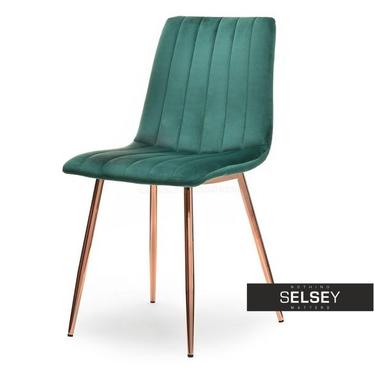 Krzesło Megan zielony velvet na miedzianych nogach