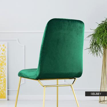 Krzesło Hironna zielone na złotych nogach I