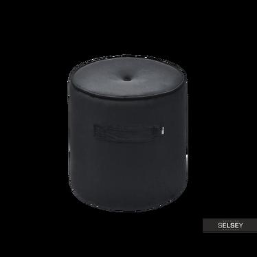 Pufa Basel z czarnego weluru z dwiema rączkami