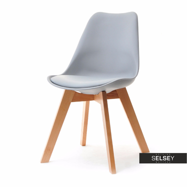 Krzesło Luis wood buk-szary z tworzywa i drewna