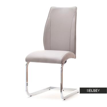 Krzesło Ferrara beżowa ekoskóra na chromowanych płozach