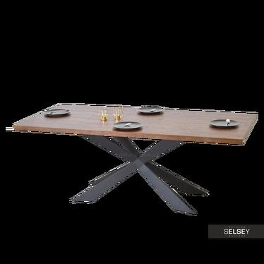 Stół Retro 200x100 cm fornir orzechowy na czarnej stalowej podstawie