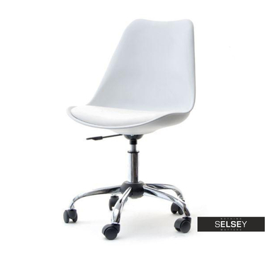 Fotel biurowy Luis move biały tapicerowany na kółkach