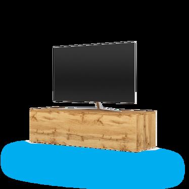 Szafka RTV Lana w kolorze dąb wotan z niebieskim LED