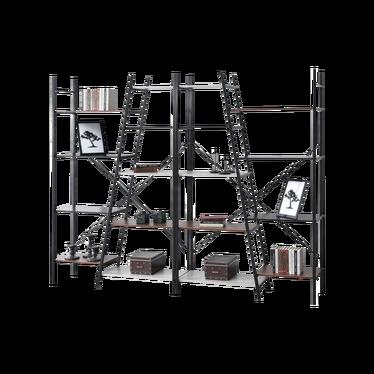 Zestaw regałów Pyton czarny - patchwork z dziewięcioma półkami industrialny