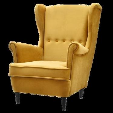 Fotel Malmo miodowo - czarny uszak welurowy