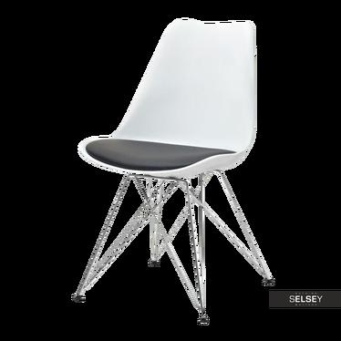 Krzesło Luis rod biało - czarne na chromowanej podstawie