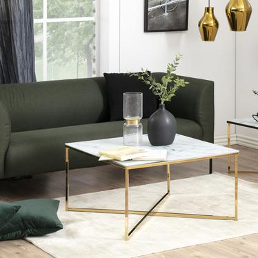Stolik kawowy Alisma 50x50 cm - złota podstawa