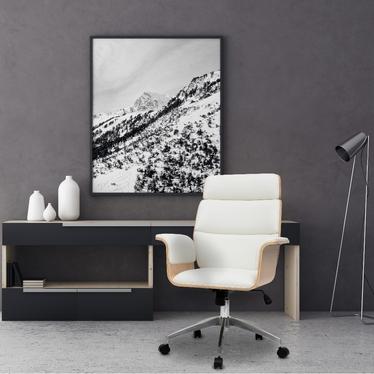 Fotel biurowy Gatinso biała ekoskóra - klon