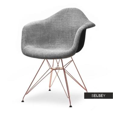 Krzesło MPA rod tap szare glamour-miedź do stylowego salonu