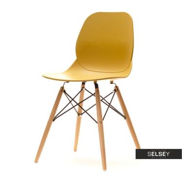 Krzesło Leaf wood musztardowe