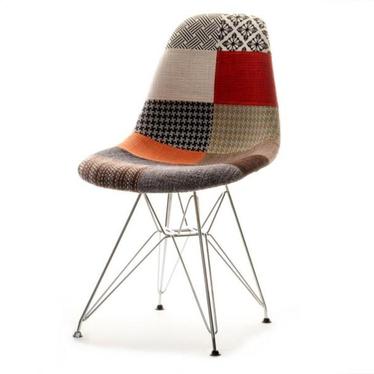 Krzesło MPC rod tap patchwork na chromowanych nóżkach
