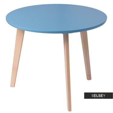 Stolik kawowy Oslo średnica 70 cm z niebieskim blatem